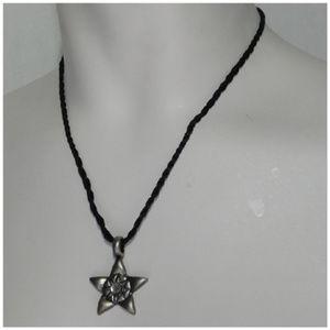 Silvertone Star Pendant Necklace